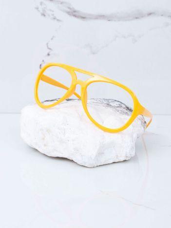 Żółte okulary bez szkieł