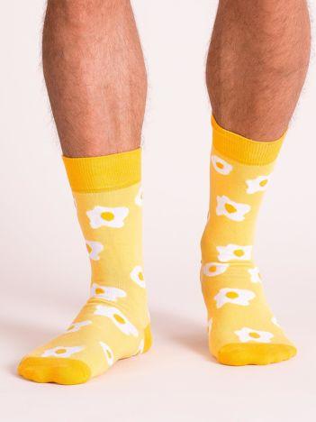 Żółte skarpety męskie z bawełny