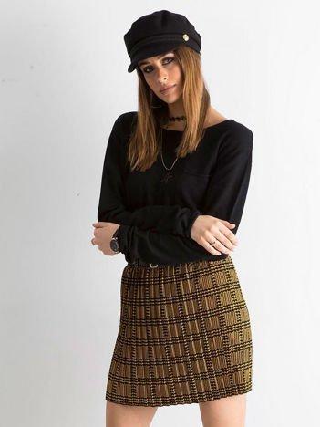 Żółto-czarna plisowana spódnica we wzory