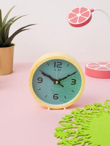 Żółto-miętowy zegar stołowy