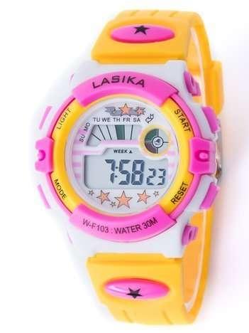 Żółto-różowy zegarek młodzieżowy wielofunkcyjny z datą i alarmem