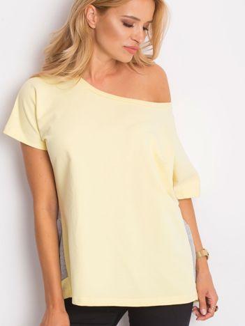 Żółto-szara bluza oversize z krótkim rękawem i falbanką
