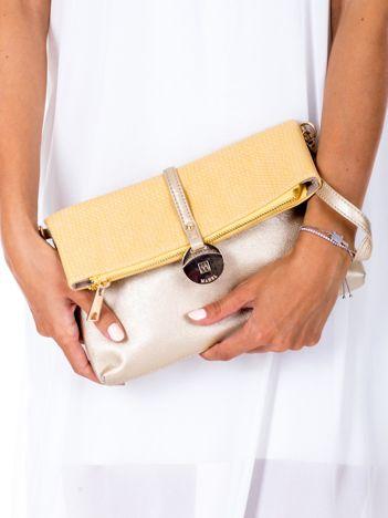 Żółto-złota miękka torebka z odpinanym paskiem