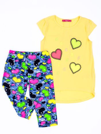 Żółty komplet dla dziewczynki z serduszkami