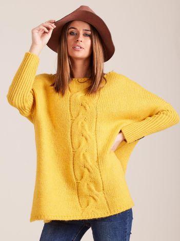 Żółty luźny sweter w warkocz MAGPIE