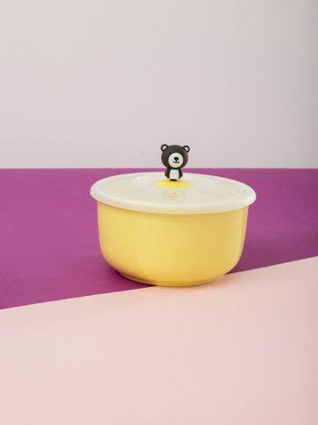 Żółty pojemnik z pokrywką