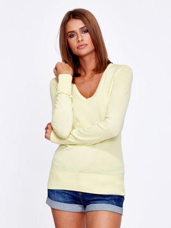 Żółty sweter V-neck