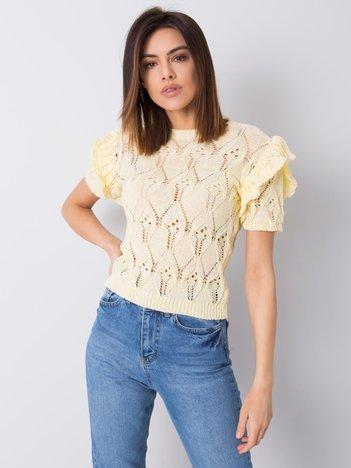 Żółty sweter ażurowy Nicoletta RUE PARIS