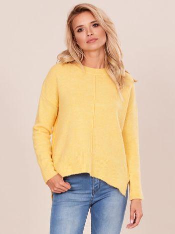 Żółty sweter z dłuższym tyłem