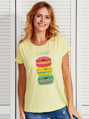 Żółty t-shirt damski OH MACARONS