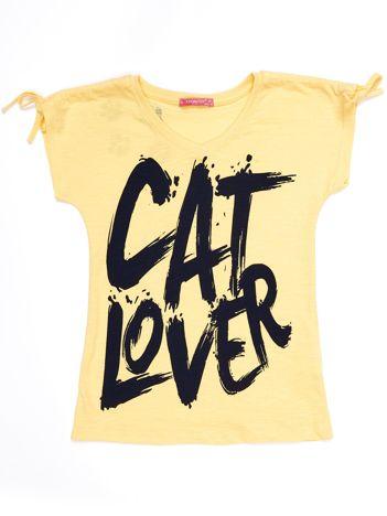 Żółty t-shirt dla dziewczynki CAT LOVER