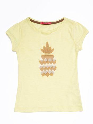 Żółty t-shirt dla dziewczynki z ananasem