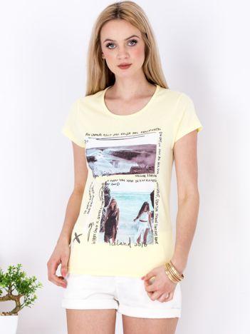 Żółty t-shirt z motywem morza