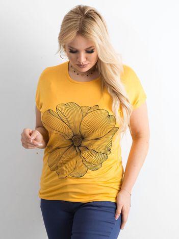 Żółty t-shirt z nadrukiem PLUS SIZE