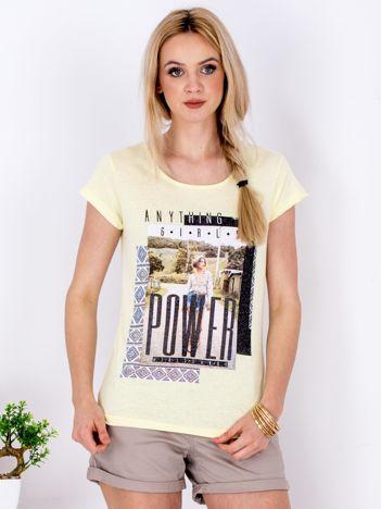 Żółty t-shirt z nadrukiem boho