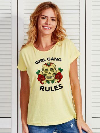 Żółty t-shirt z tatuażowym nadrukiem czaszki GIRL GANG
