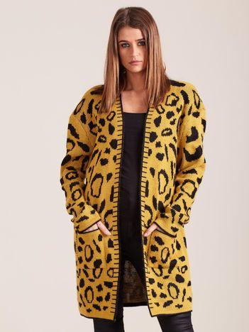 Żółty wzorzysty sweter damski