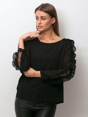 Zwiewna bluzka z ozdobną wstawką z koronki czarna
