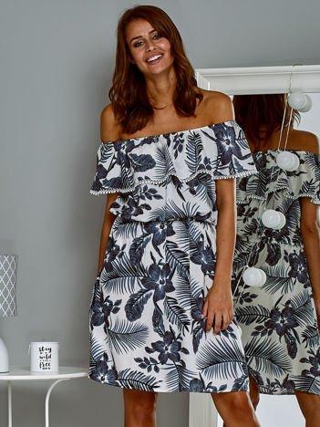 Zwiewna sukienka letnia  hiszpanka w tropikalny wzór biały