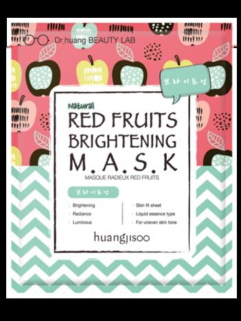 huangjisoo Red Fruits Brightening Mask Naturalna koreańska rozświetlająca maska do twarzy w płachcie 32 g
