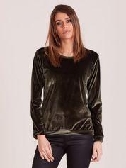 Aksamitna bluza damska khaki