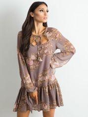 BY O LA LA Brązowa sukienka z falbaną