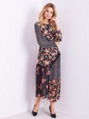 BY O LA LA Maxi czarna sukienka w kwiaty i grochy
