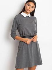 Bawełniana sukienka z kołnierzykiem ciemnoszara