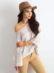 Beżowa bluzka oversize w paski