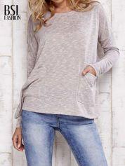 Beżowa melanżowa bluzka z kieszeniami