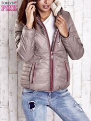 Beżowa pikowana kurtka z futrzaną podszewką