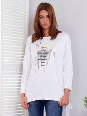 Biała bluza ze srebrnym printem i wiązaniem