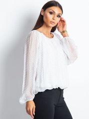 Biała bluzka damska w groszki