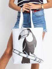 Biała duża torba z nadrukiem