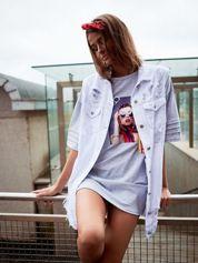 Biała jeansowa kamizelka z rozdarciami