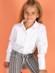 Biała koszula dla dziewczynki z diamencikami