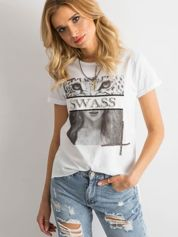 Biała koszulka damska z aplikacją