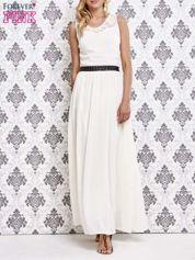Biała sukienka maxi ze skórzanym pasem a'la ćwieki