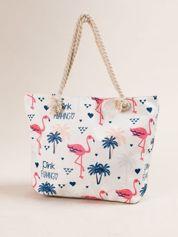 Biała torba materiałowa we flamingi