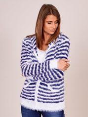 Biało-niebieski rozpinany sweter w paski z kapturem