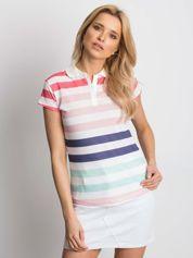 Biało-różowa koszulka polo w kolorowe paski