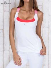 Biały gładki sportowy top z ramiączkami w paski