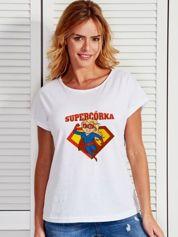Biały t-shirt damski SUPER CÓRKA blondynka