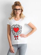 Biały t-shirt damski z nadrukiem