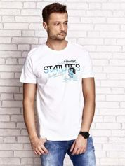 Biały t-shirt męski z nadrukiem napisów i cyfrą 9