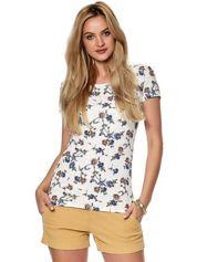 Biały t-shirt w kolorowe kwiatki
