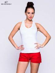 Biały top fitness z dekoltem V