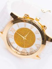Biały zegarek damski na żelowym pasku