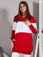 Bluza damska modułowa z luźnym kołnierzem biało-czerwona