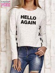Bluza lace up jasnobeżowa z napisem